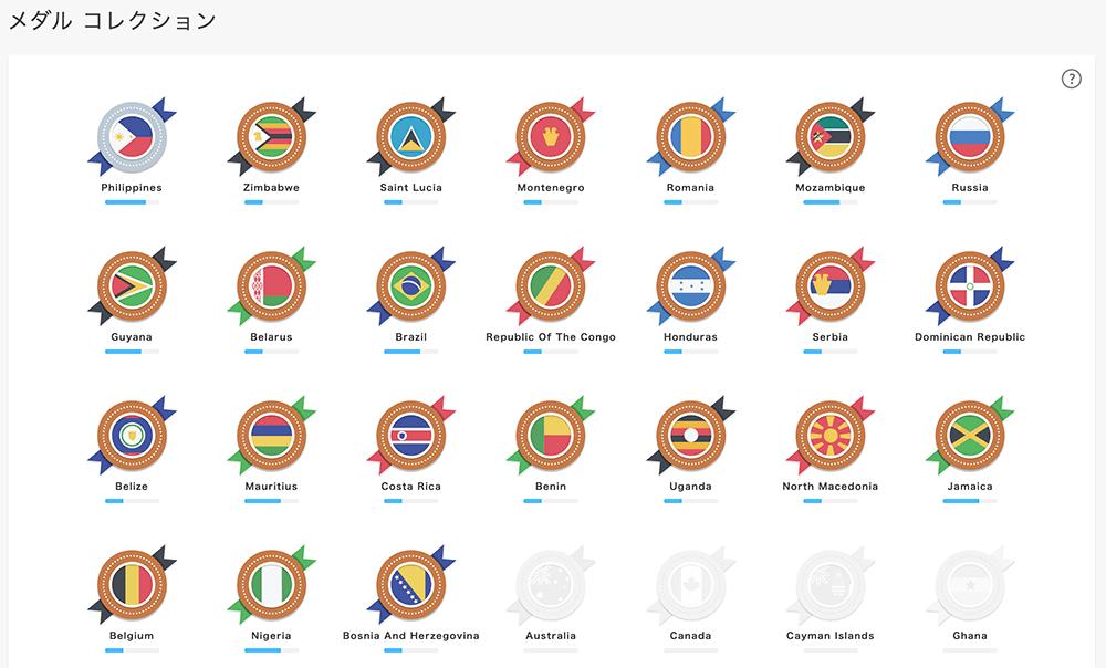 DMM英会話のメダルコレクションページ