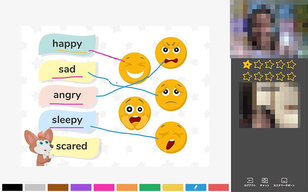 Novakidのレベル2教材。気持ちをあらわす表現をゲームで学習。
