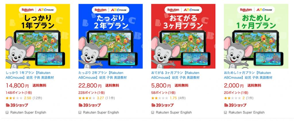 楽天市場で販売されている楽天ABCマウスのプロダクトコード
